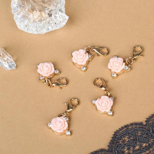 """2539428 Шармик """"Роза"""", цвет бело-розовый в золоте за 1 шт"""