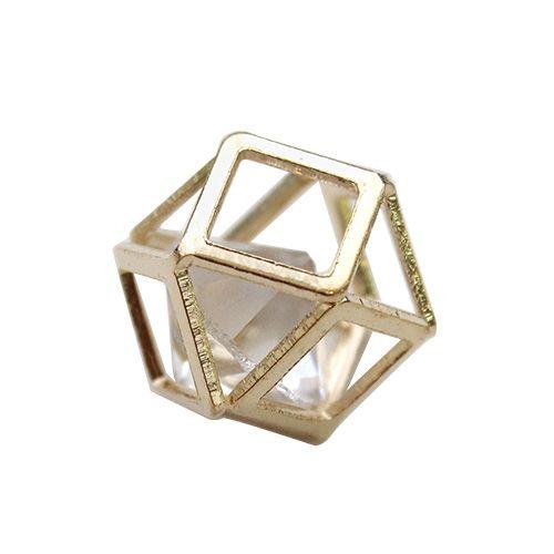 "Бусина-коробочка со стразом ""Куб"", 2шт/упак (серебро)"