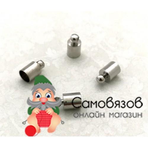 25597 Концевик для шнура 9х5мм, вн.диам. 4,5мм цв.никель цена за 1 шт