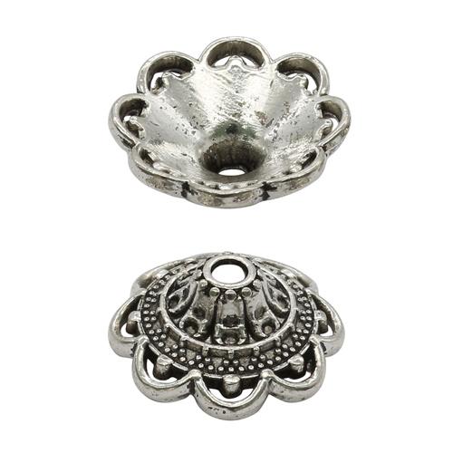 2328118 Шапочки для бусин 1,4*1,4*0,5см чернёное серебро цена за 1 шт