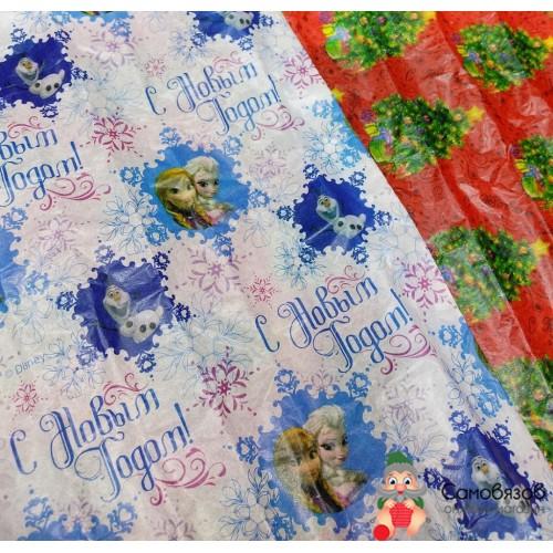 """Упаковка Бумага упаковочная тишью """"С Новым годом"""", Холодное сердце, 50 х 70 см"""