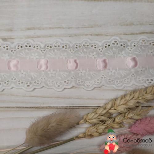 Текстильная галантерея Шитье белое с розовой лентой. Цена указана за 10 см
