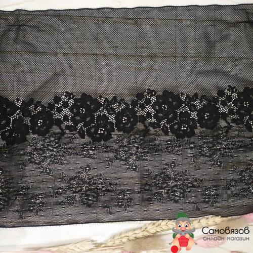 Текстильная галантерея Черное широкое кружево с цветами (Цена указана за 10см)