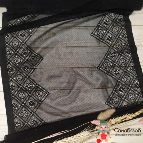 Текстильная галантерея Черное с ромбами (Цена указана за 10 см)