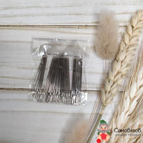Принадлежности для шитья и рукоделия Иглы швейные ручные с увеличен. ушком, длина 40мм. Цена за 1 иглу