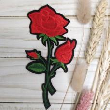 Термоаппликации Роза красная с бутоном