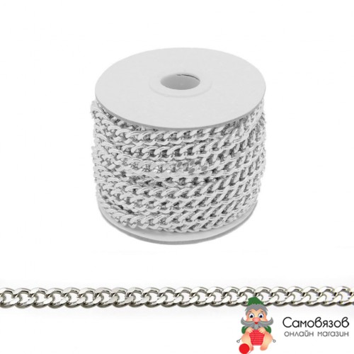 Фурнитура Цепь алюминиевая 9,2*7,2*10м К1415 (черный никель) цена за 10 см