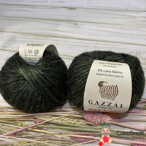 Пряжа 13910 черно-зеленый