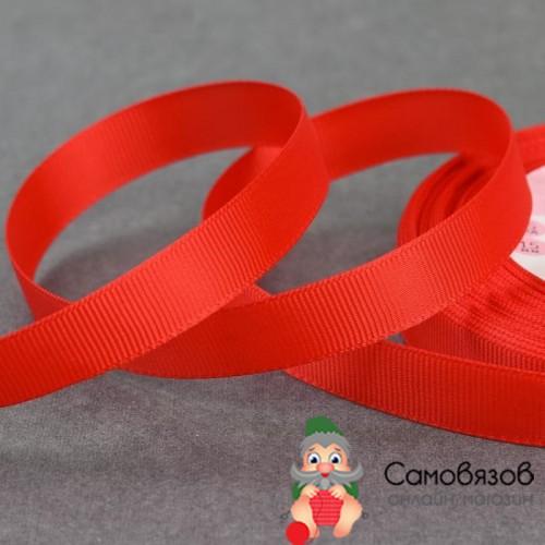Лента репсовая, 15 мм, цвет красный №26 (Цена за 10 см).