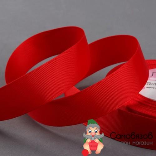 Лента репсовая, 25 мм, цвет красный №26 (Цена за 10 см)