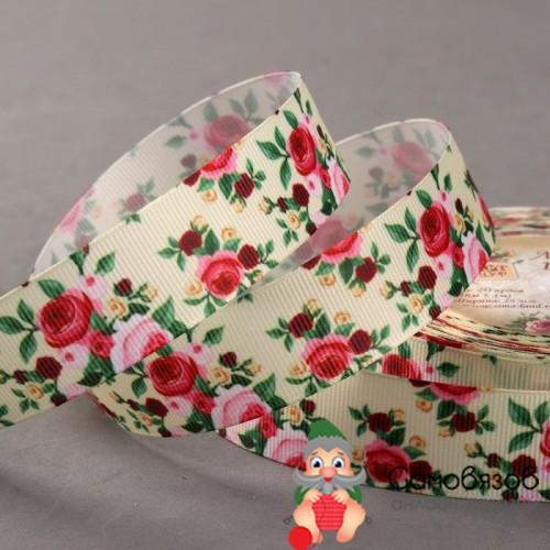 Лента репсовая «Розы», 25 мм, разноцветная (Цена за 10 см)