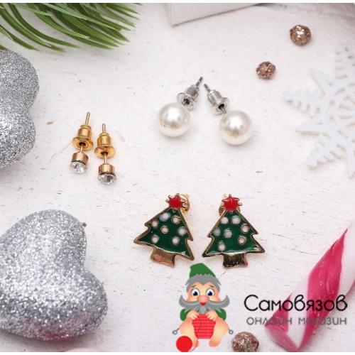 """Творчество Пусеты (сережки-гвоздики) 3 пары """"Новогоднее ассорти"""" ёлочка цветные"""