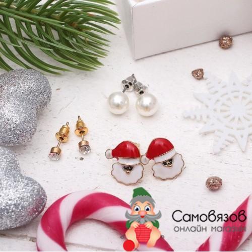 """Творчество Пусеты (сережки-гвоздаки) 3 пары """"Новогоднее ассорти"""" дед мороз цветные"""