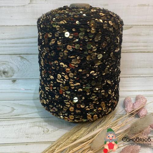 Пряжа 009 черный с желтым / цена за 10 грамм