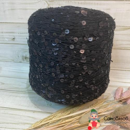 Пряжа 011 черный с матовыми пайетками / цена за 10 грамм