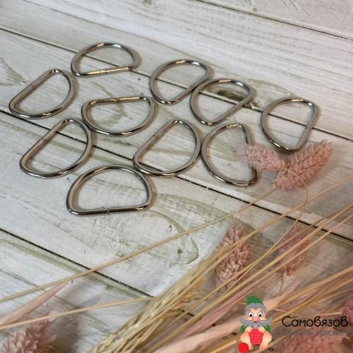 Фурнитура Полукольца для сумок, d = 25 мм, толщина - 3 мм цвет серебряный, цена за 1 шт