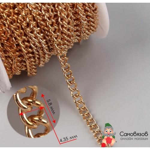 Фурнитура Цепочка для сумки, 4,35 x 5,8 мм, 10 ± 0,5 м, цвет золотой (цена за 10 см, продажа метражом, кратно 10 см)