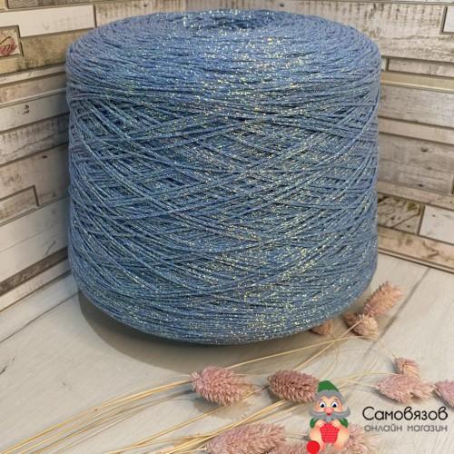 Пряжа Голубой с разноцветным люрексом