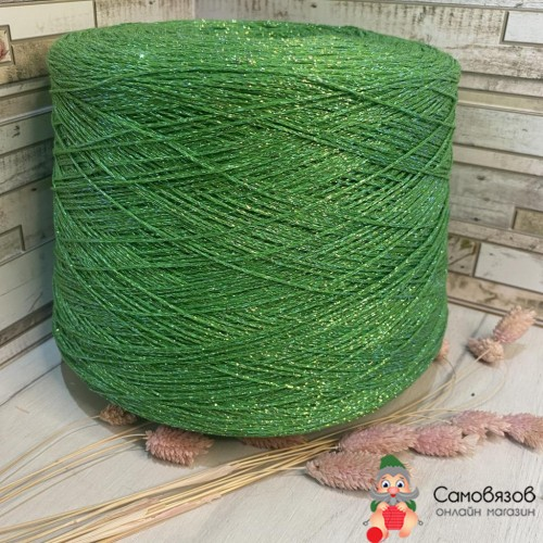 Пряжа Зелёная трава с разноцветным люрексом