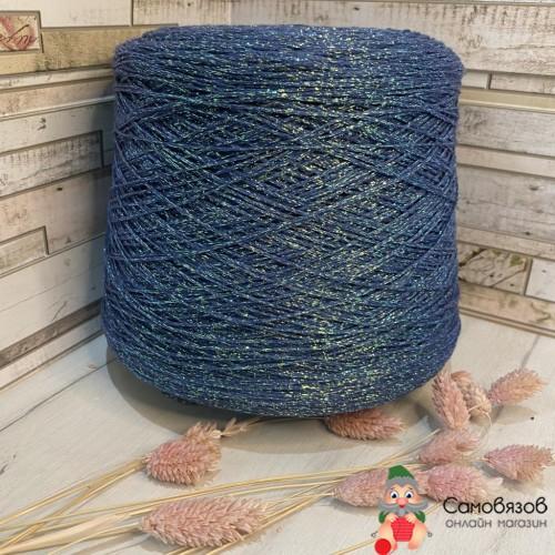 Пряжа Синий с разноцветным люрексом