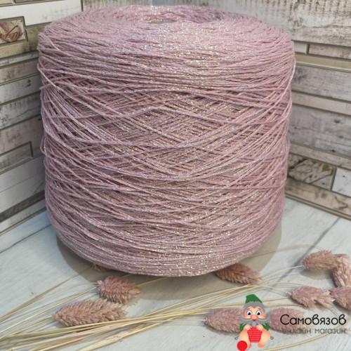 Пряжа Розовый с цветным люрексом