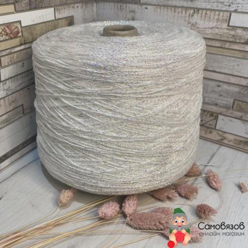 Пряжа Белый с разноцветным люрексом