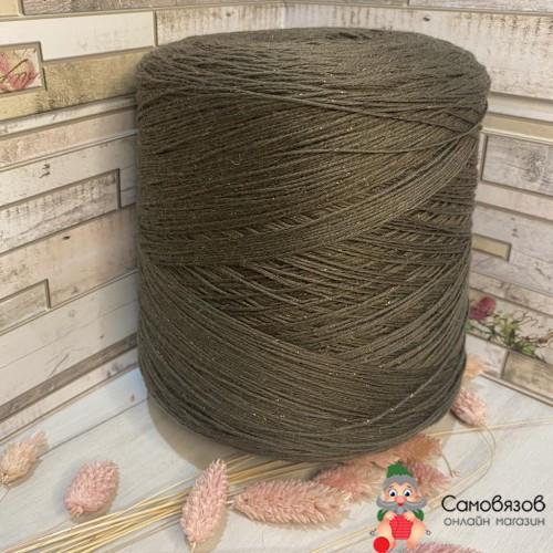 Пряжа Хаки с коричневым люрексом
