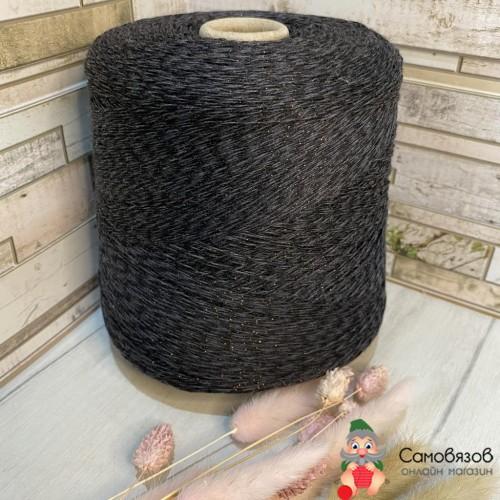 Пряжа Серый чёрный с коричневым люрексом