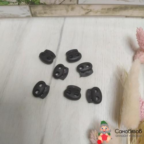 Фурнитура Стопор для шнура пластик двойной (черный)