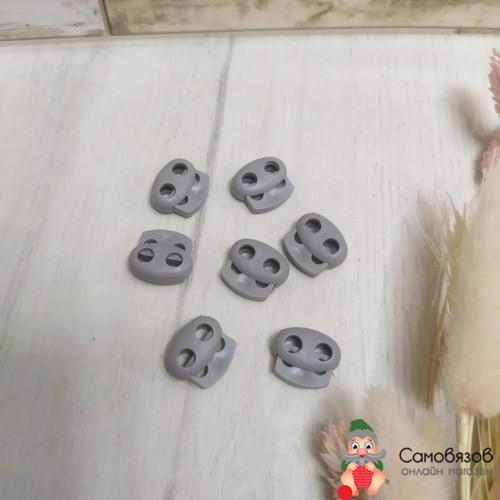 Фурнитура Стопор для шнура пластик двойной (светло-серый)
