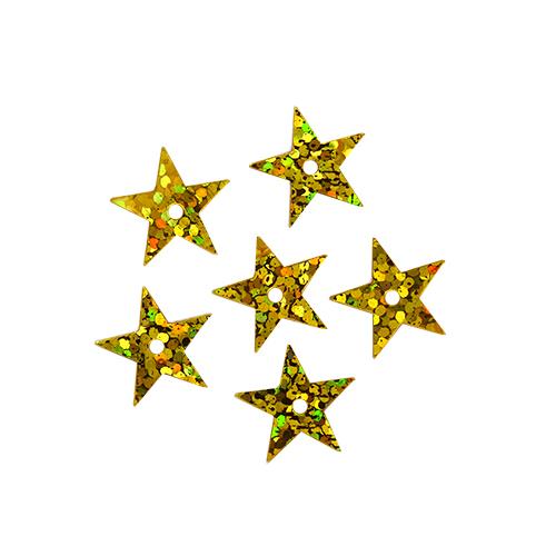 """Пайетки """"звездочки"""" 13мм, 10г (A20 золото голограмма)"""