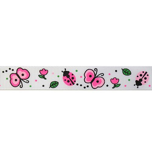 """Ленты Лента репсовая """"Бабочки и цветы"""" 1,5см (белый) Цена указана за 10 см"""