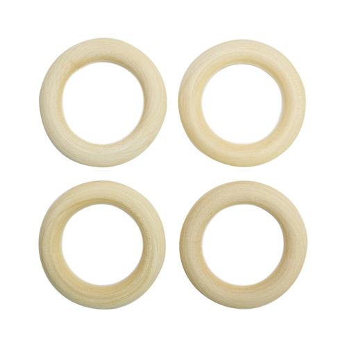 Бусины деревянные неокрашенные кольцо 40 мм, 4шт