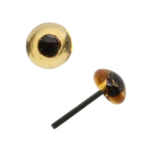 Аксессуары для кукол 5AS-024 Глаза кукольные стеклянные 10мм, Цена за 1 пару (светло-коричневый)
