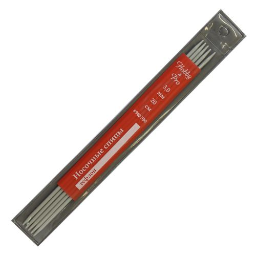 Спицы 940530 носочные алюминиевые с покрытием 20см, 3,0мм