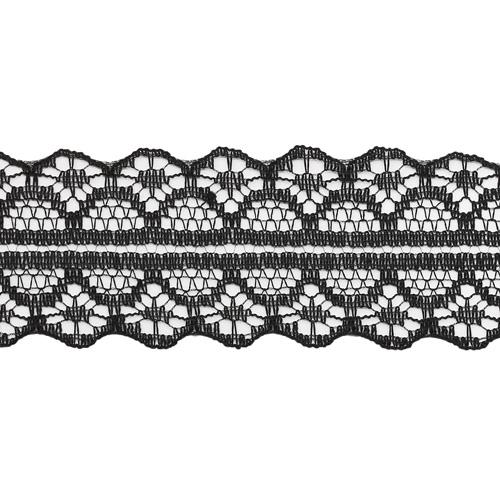 Кружево 1658-2 сетка нейлон 3см*45,7м ДУ (черный)