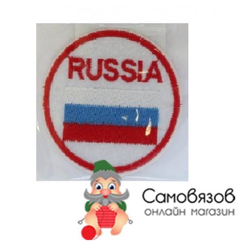 """Термоаппликации флаг России"""" в круге 60 мм,"""