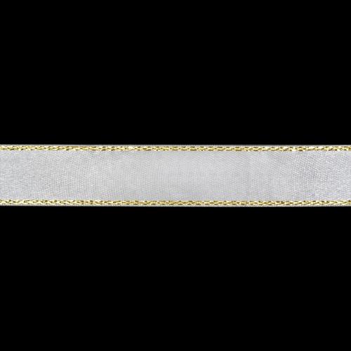 Ленты RB-011 Лента атласная односторонняя 6 мм с золотой нитью (001 белый) Цена указана за 10 см