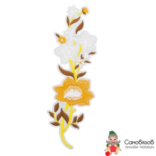 Термоаппликации 3783602 Цветы, бежевый 24*7,5см