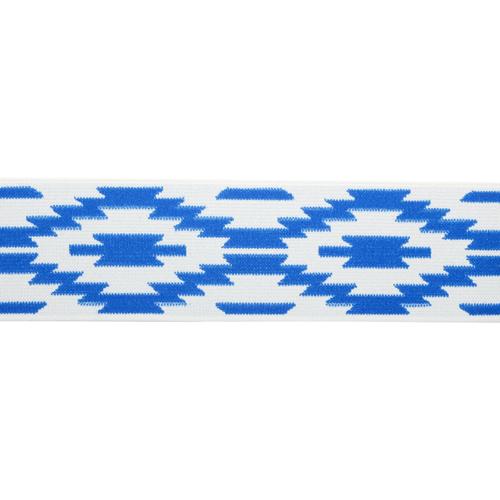 "Резинка 1AS-227 Лента (тесьма) эластичная декоративная ""Ромбы"" 5см розничная (белый/синий)Цена за 1метр (отрез кратно 1метру)"