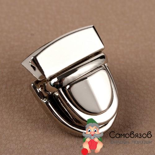 Фурнитура Застёжка для сумки 3 x 2 см цвет серебро