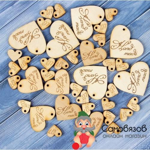 Аксессуары Бирки «Hand made», сердечки размер 40х43 мм(большие). Цена за 1 шт