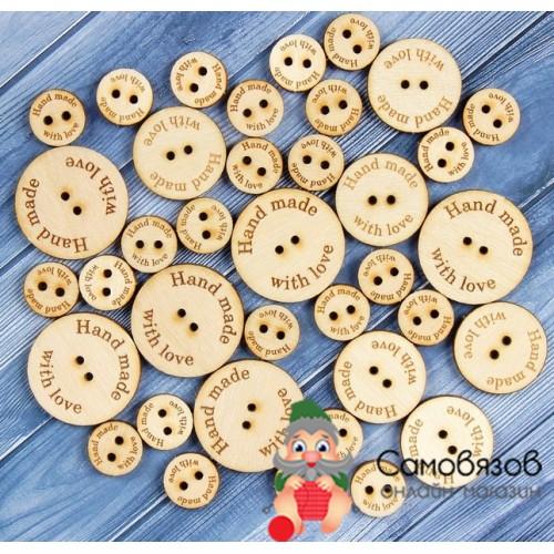 Аксессуары Бирки «Hand made», деревянные пуговицы, размер 30мм(большие). Цена за 1 шт