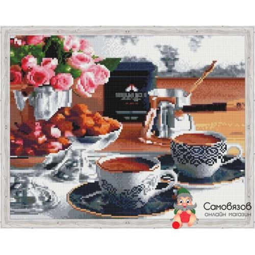 Творчество Алмазная мозаика «Аромат утреннего кофе» 40x50см.