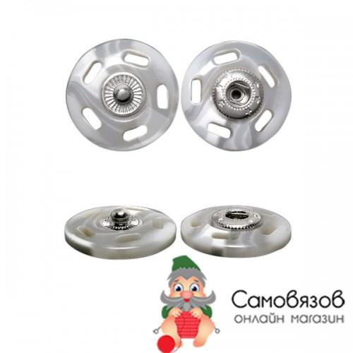 Кнопки пришивные ГДЖ1546 Кнопка пришивная 21мм (белый/никель)