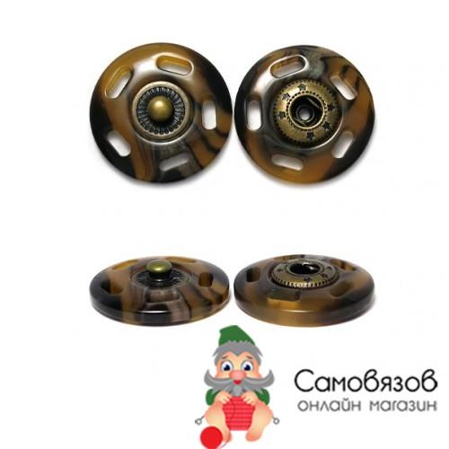 Кнопки пришивные ГДЖ1546 Кнопка пришивная 21мм (рог/бронза)