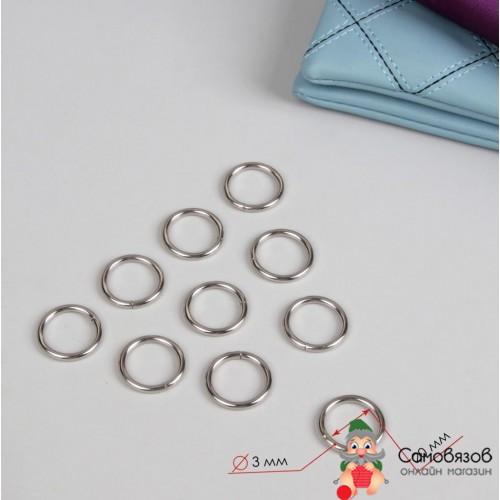 Фурнитура Кольца для сумок, d = 20 мм, толщина - 3 мм цвет серебряный, Цена за 1 шт