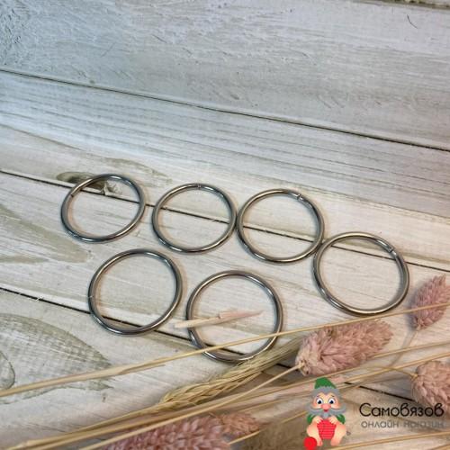 Фурнитура Кольца для сумок, d = 32 мм, толщина - 3 мм, цвет серебряный. Цена за 1 шт