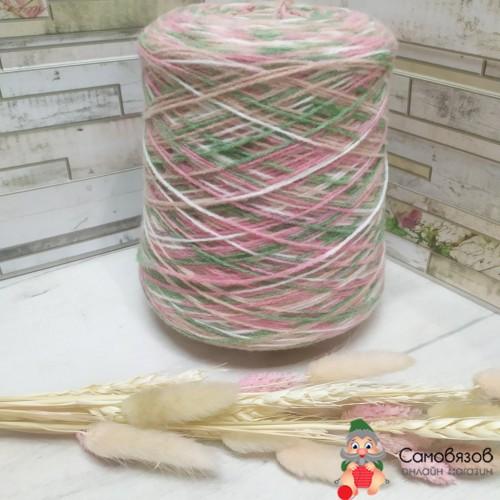Пряжа sock printing 552 (зелено-розовый)