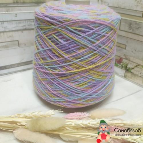 Пряжа sock printing 551 (желто-сиренево-розово-голубой)